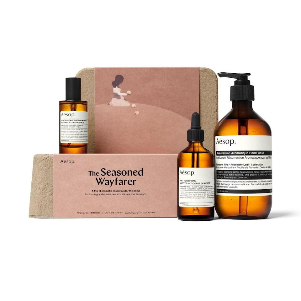 "<p>I always get asked, ""Are Aesop products worth it?"" and every time I say, ""Absolutely."" This season, the brand's launched a series of gift sets, all of which come with digital access to a ""dead"" literary text. The Seasoned Wayfarer Kit contains three products designed to take away even the slightest hint of stank in your home. The three-piece collection includes a room spray, post-poo drops (because <em>no one</em> likes a bathroom smelling like boo-boo), and an aromatic hand wash to keep your paws clean.</p> <p><strong>$129</strong> (<a href=""https://shop-links.co/1724704978734693288"" rel=""nofollow noopener"" target=""_blank"" data-ylk=""slk:Shop Now"" class=""link rapid-noclick-resp"">Shop Now</a>)</p>"