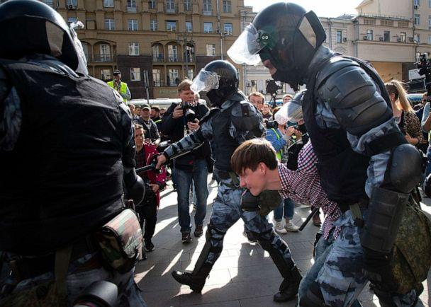PHOTO: Police officers detain a protestor, during an unsanctioned rally in the center of Moscow, Russia, Aug. 3, 2019. (Alexander Zemlianichenko/AP, FILE)