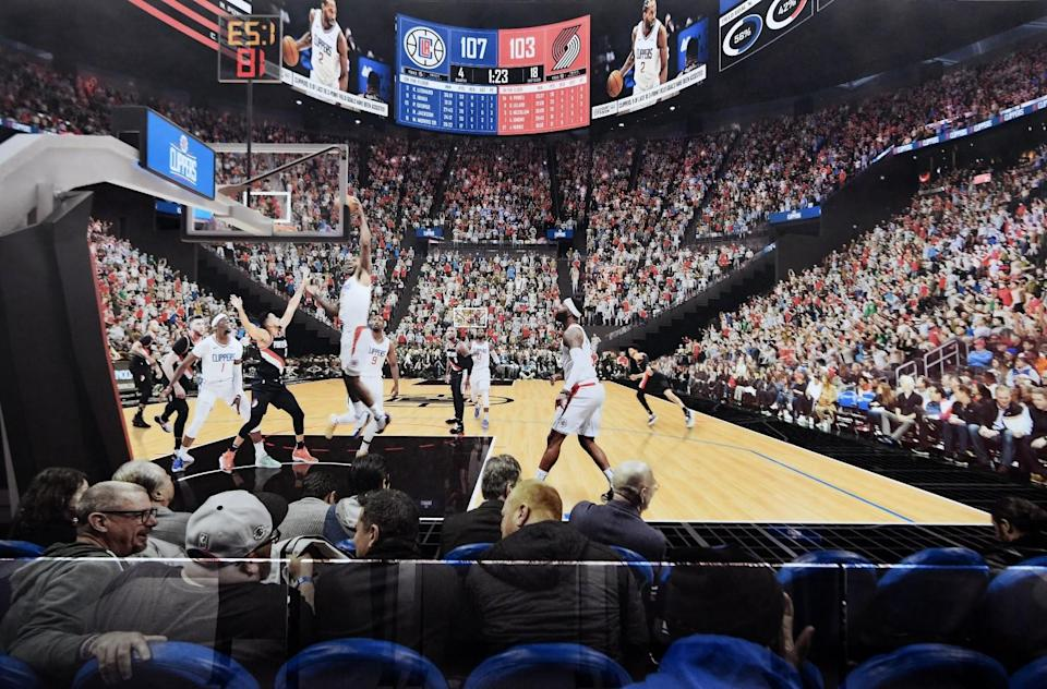 A rendering of a game being played in The Intuit Dome, the future home of the Clippers.