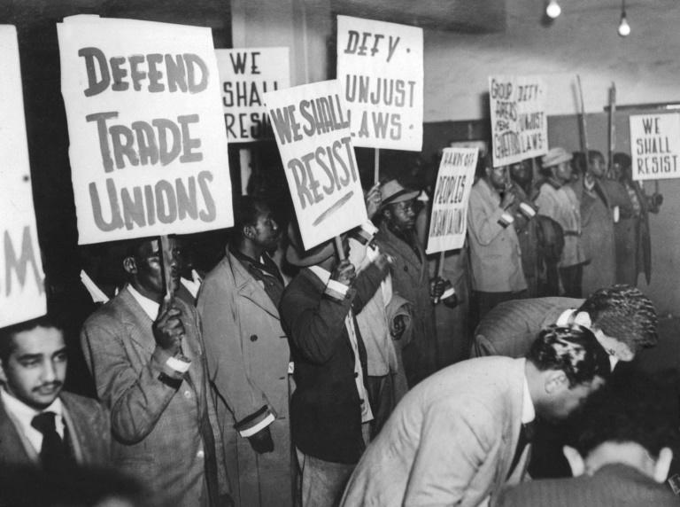 Supporters of South Africa's African National Congress (ANC) gather in Johannesburg to protest the apartheid regime of racial segregation on August 12, 1952