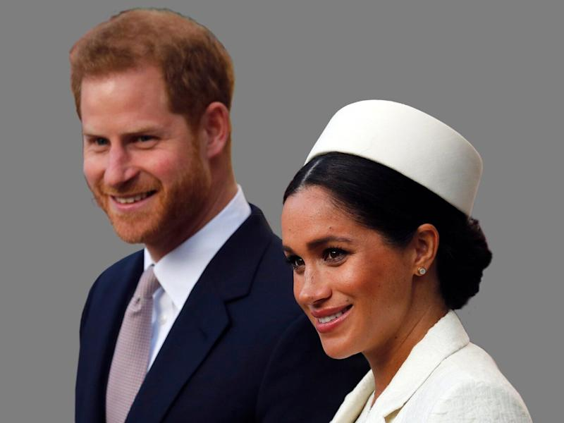 Prince Harry of Great Britain and Meghan Duchess of Sussex, (l-r), graphic element on gray
