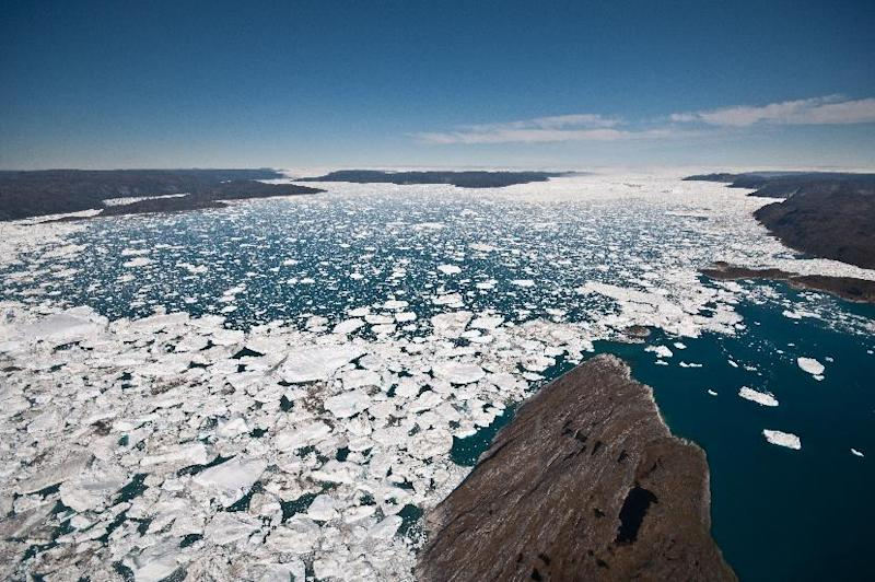 An undated photo from the University of Washington shows a view down the Ilulissat, Greenland, fjord (AFP Photo/Ian Joughin)
