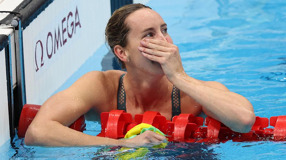 Emma McKeon, pictured here after winning the 100m freestyle final in an Olympic record.