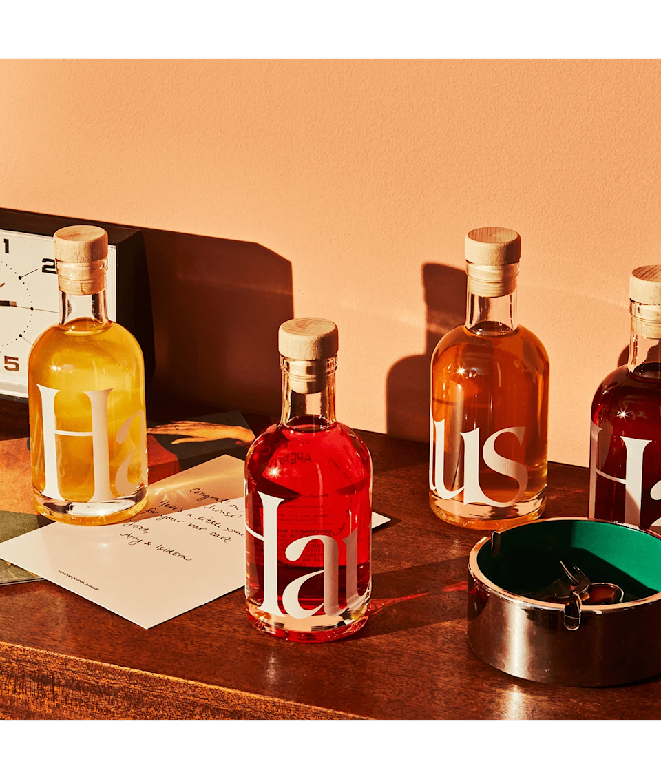 """<h2>Haus The Sampler Kit</h2><br>Sip your way through four apéritif flavors of your choosing — in a totally customizable kit.<br><br><em>Shop <strong><a href=""""https://fave.co/36WyYU4"""" rel=""""nofollow noopener"""" target=""""_blank"""" data-ylk=""""slk:Haus"""" class=""""link rapid-noclick-resp"""">Haus</a></strong></em> <br><br><strong>Haus</strong> The Sampler Kit, $, available at <a href=""""https://go.skimresources.com/?id=30283X879131&url=https%3A%2F%2Fdrink.haus%2Fproducts%2Fhaus-sampler-kit"""" rel=""""nofollow noopener"""" target=""""_blank"""" data-ylk=""""slk:Haus"""" class=""""link rapid-noclick-resp"""">Haus</a>"""