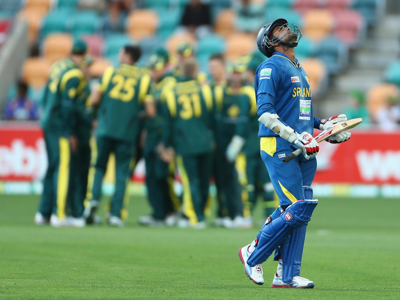 HOBART, AUSTRALIA - JANUARY 23: Lahiru Thirimanne of Sri Lanka walks from the ground after he was caught out during game five of the Commonwealth Bank One Day International Series between Australia and Sri Lanka at Blundstone Arena on January 23, 2013 in Hobart, Australia.  (Photo by Robert Cianflone/Getty Images)