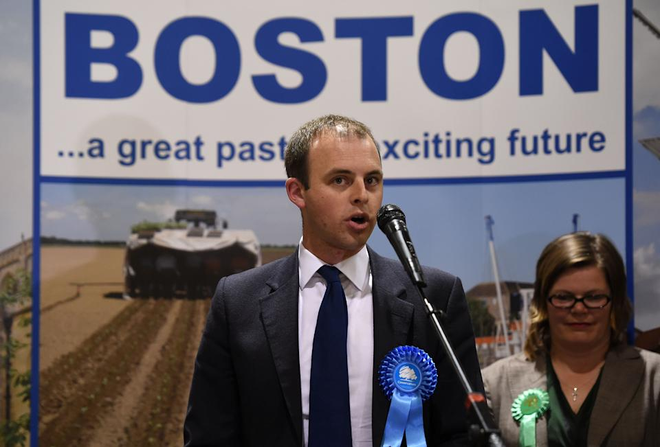 Conservative candidate Matt Warman speaks after winning the Boston and Skegness seat at the Peter Paine Performance Centre in Boston.