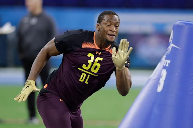 Clemson defensive lineman Clelin Ferrell runs a drill during the NFL scouting combine. (AP Photo)