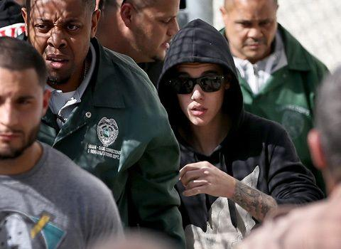 Justin Bieber leaving the Miami Court House after his arrest on Jan. 23. Credit: Getty Images