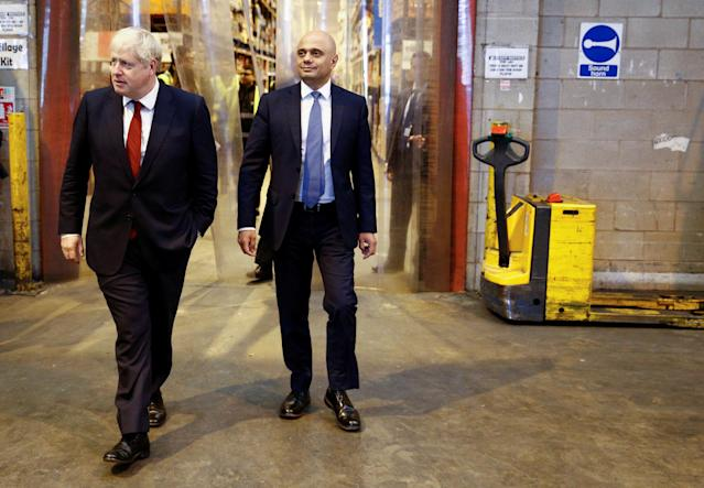 Prime minister Boris Johnson (left) and the chancellor Sajid Javid during a visit to Bestway Wholesale in Manchester. Javid will unveil the 2020 budget on 11 March. (PA)