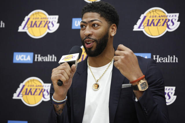 Anthony Davis was introduced to the media as a Laker on Saturday. (AP Photo/Damian Dovarganes)