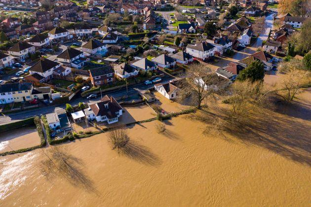Flooding from the River Wye in Hereford following Storm Dennis.