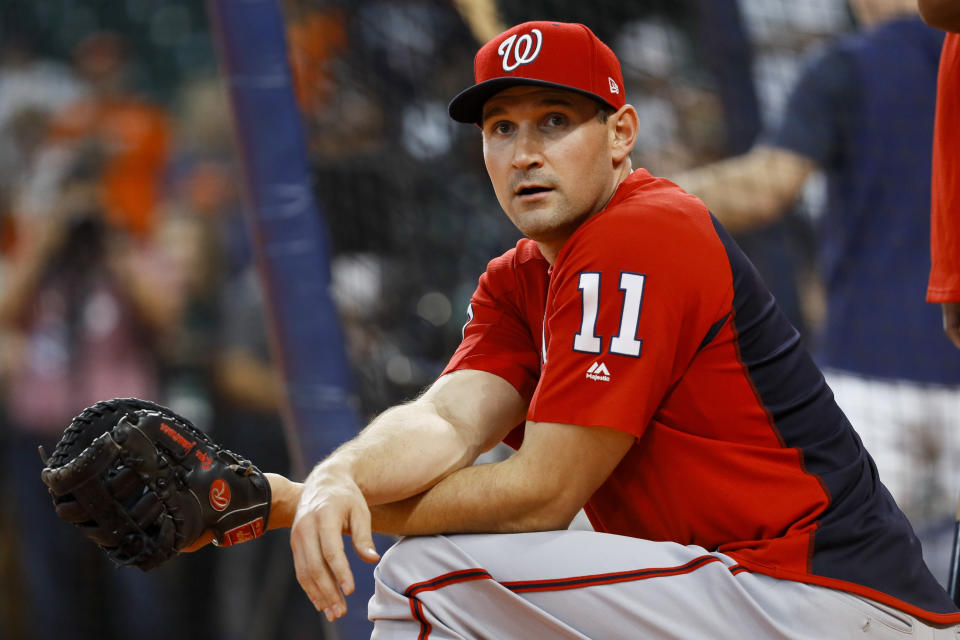 FILE - In this Oct. 22, 2019, file photo, Washington Nationals first baseman Ryan Zimmerman prepares to take batting practice before Game 1 of the baseball team's World Series against the Houston Astros in Houston. In this week's installment, Zimmerman discusses his thoughts on retirement. (AP Photo/Matt Slocum, File)