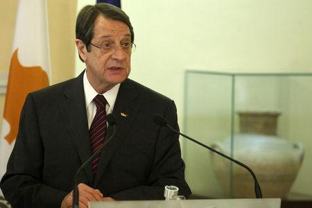 Cypriot President Nicos Anastasiades attends a news conference after the meeting with Maltese Prime Minister Joseph Muscat at the Presidential Palace in Nicosia
