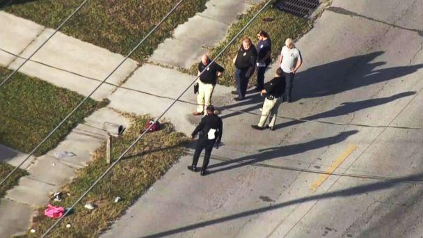 PHOTO: Police investigate an incident in Tampa, Fla., Nov. 1, 2018, in which multiple children waiting for a school bus with their parents were struck by a car and injured, according to police. (WFTV)
