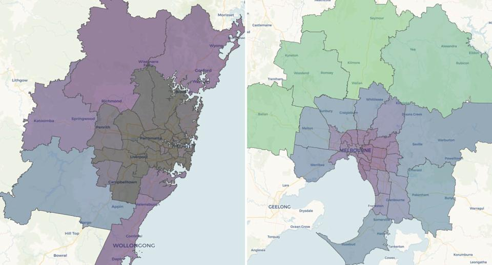 Two maps compare Sydney and Melbourne's mobility during week six of lockdown. The darker the shade, the lesser the movement. Picture: DSpark.