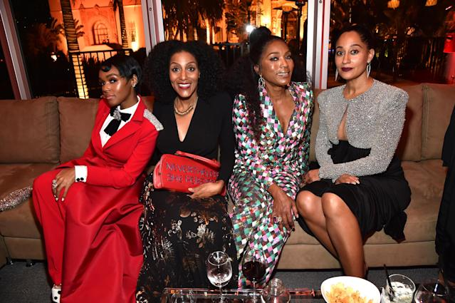 <p>Monáe made a splash in red at the <em>Vanity Fair</em> party thanks to her Christian Siriano suit. (Photo: Kevin Mazur/VF18/WireImage) </p>