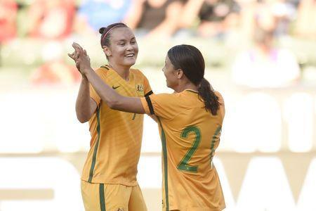 Aug 3, 2017; Carson, CA, USA; Australia forward Sam Kerr (20) celebrates with midfielder Caitlin Foord (9) after scoring a goal against Brazil during the second half at StubHub Center. Australia won 6-1. Mandatory Credit: Kelvin Kuo-USA TODAY Sports