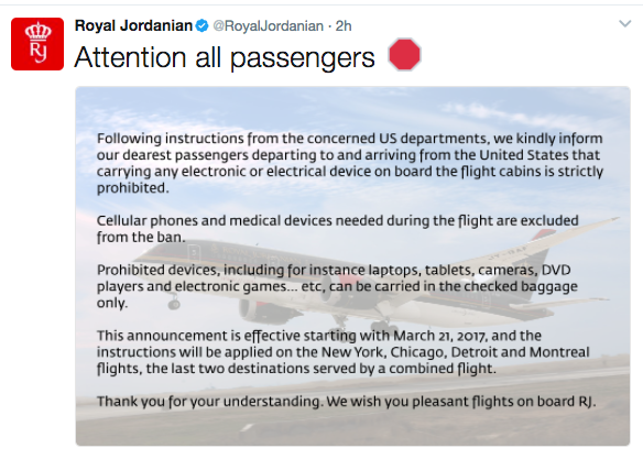 Now you see it: deleted tweet from Royal Jordanian Airlines about the new ban on electronic devices (Royal Jordanian)
