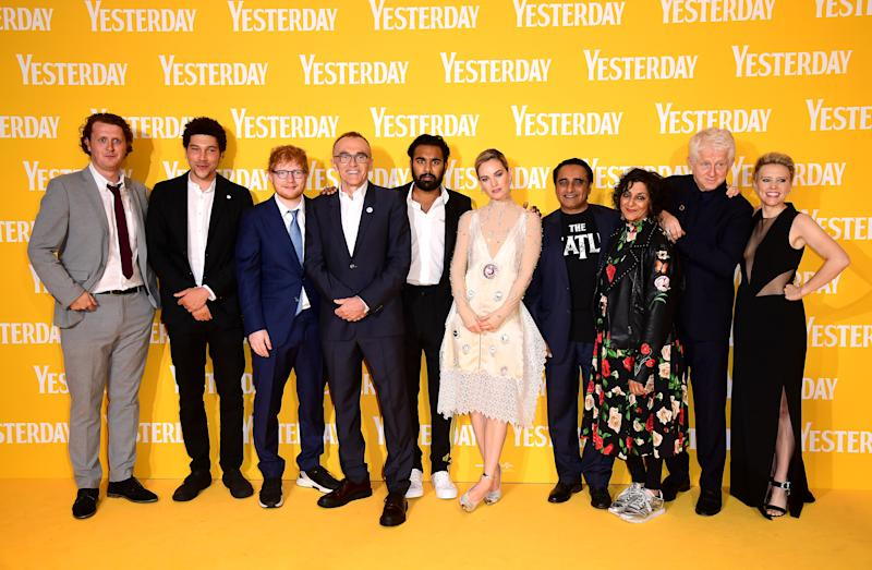 Harry Michell, Joel Fry, Ed Sheeran, director Danny Boyle, Himesh Patel, Lily James, Sanjeev Bhaskar, Meera Syal, writer Richard Curtis, and Kate McKinnon attending the Yesterday UK Premiere held in London, UK. (Photo by Ian West/PA Images via Getty Images)