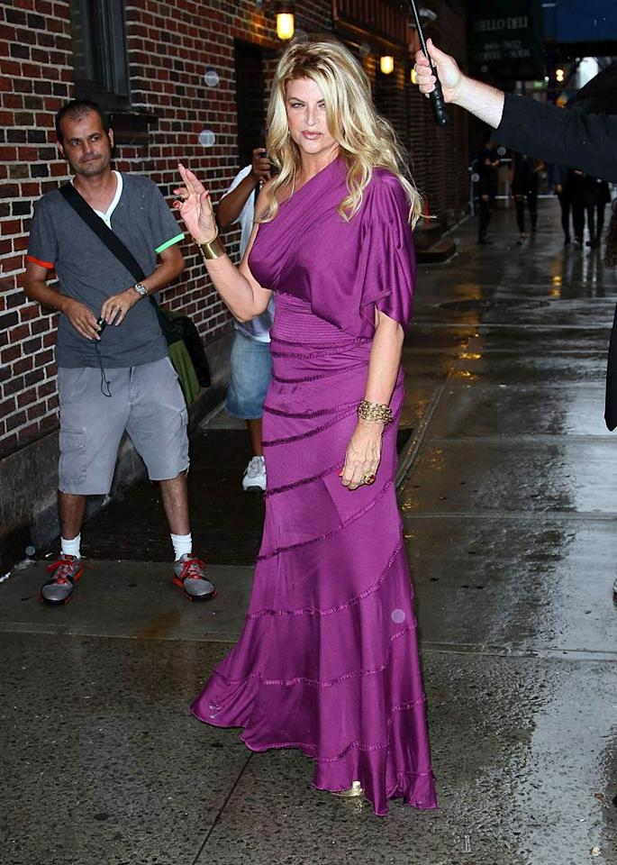 "A thinned-down Kirstie Alley struck a pose on her way into New York's Ed Sullivan Theater for her appearance on the ""Late Show With David Letterman."" ""Madly scrambling to get ready to confront my estranged lover..David Letterman...I shoot it tonight. It airs Thursday.I gotta zip outta NYC"" the 60-year-old ""Dancing With the Stars"" alum tweeted before the show. Jeffrey Ufberg/<a href=""http://www.wireimage.com"" target=""new"">WireImage.com</a> - July 25, 2011"