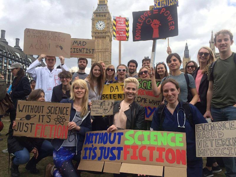 Thousands of people walked from the Natural History Museum in London to Parliament Square in the name of science and research: Lydia Franklinos