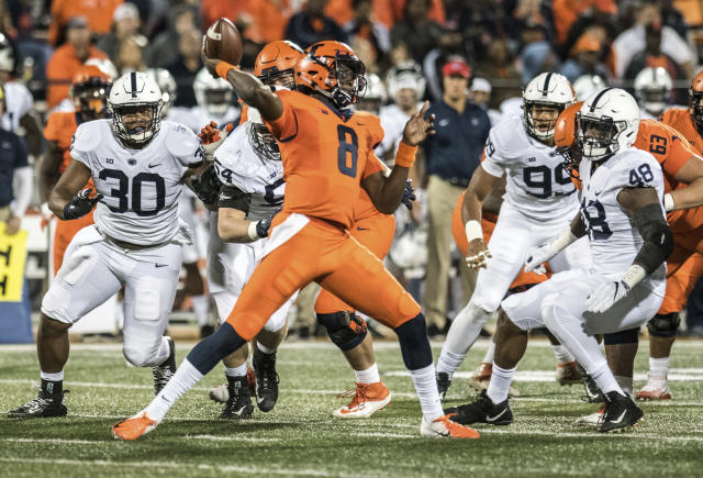 Illinois quarterback MJ Rivers (8) passes the ball during the first quarter of an NCAA college football game against Penn State, Friday, Sept. 21, 2018, in Champaign, Ill. (AP Photo/Holly Hart)