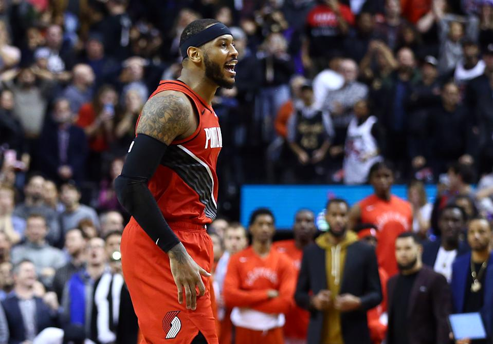 Carmelo Anthony is fitting in just fine with the Portland Trail Blazers. (Photo by Vaughn Ridley/Getty Images)