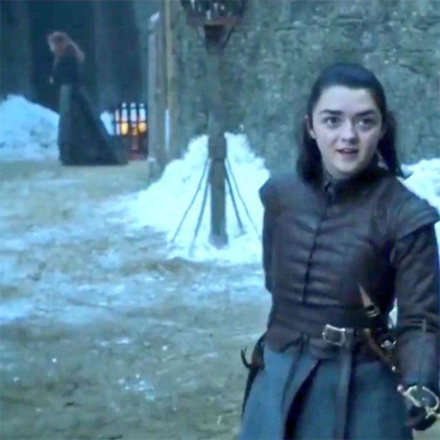 Arya mentions her mum, ghost walks past. How convenient. Source: HBO