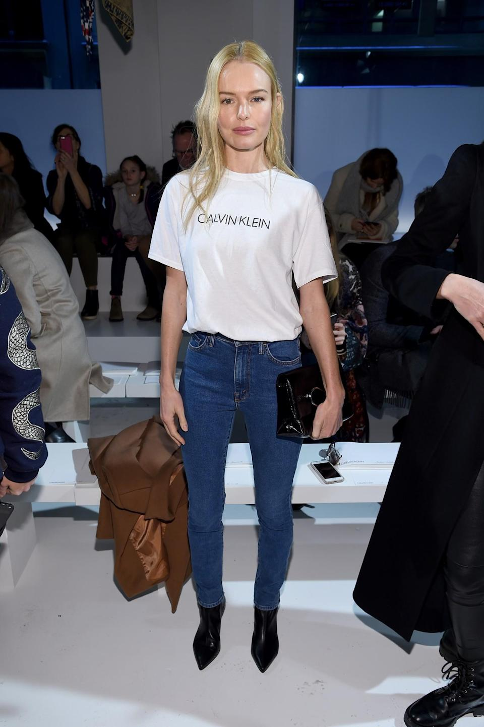 <p>Kate Bosworth wore a simple white tee bearing the new Calvin Klein logo. <i>[Photo: Getty]</i> </p>