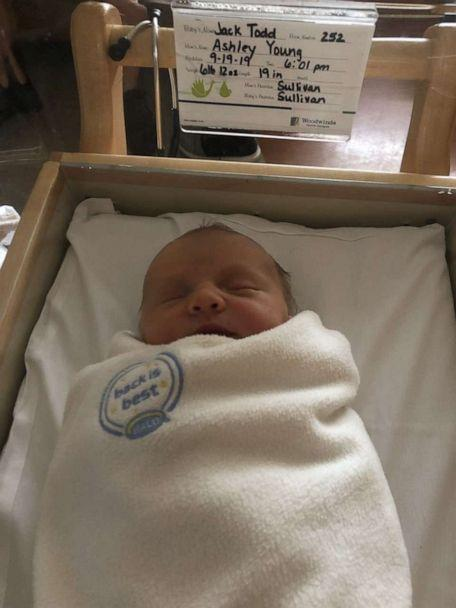 PHOTO: Jack Young, son of Ashley and Pat Young, arrived at Woodwinds Hospital in Minnesota, on Sept. 19 at 6:01 p.m. (Ashley Young)