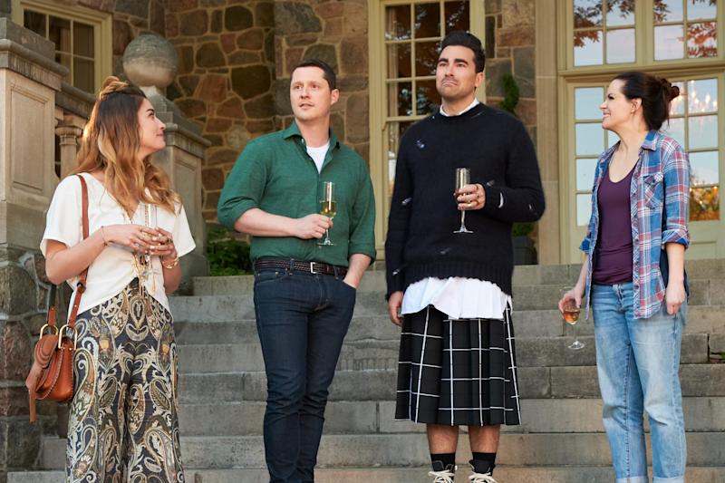 SCHITT'S CREEK, from left: Annie Murphy, Noah Reid, Daniel Levy, Emily Hempshire, 'Smoke Signals', (Season 6, ep. 601, aired in the US on Jan. 7, 2020). photo: CBC / courtesy Everett Collection