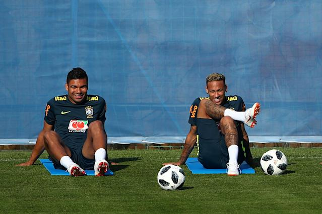 Soccer Football - World Cup - Brazil Training - Brazil Training Camp, Sochi, Russia - June 24, 2018 Brazil's Neymar and Casemiro during training REUTERS/Hannah McKay