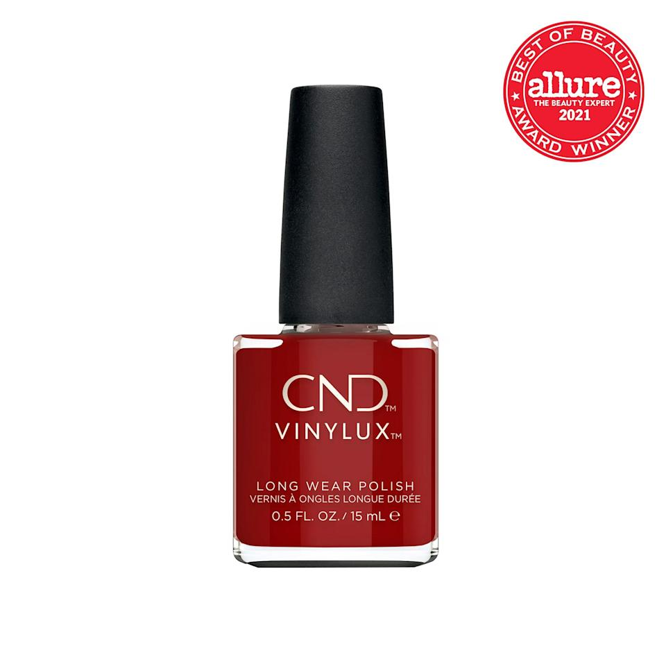 One coat — really, just one — of <strong>CND Vinylux Long Wear Polish in Bordeaux Babe</strong> yields the deepest berry with the quickest drying time. Case in point: Our color set while we were typing this sentence.