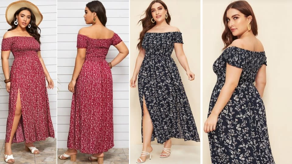 Floral Thigh-High Slit Off The Shoulder Dress with Ruched Bodice - Shein, $ 22