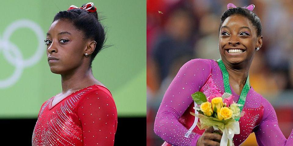 """<p>When <em>Dancing with the Stars</em> host Tom Bergeron asked the Olympic gymnast why she wasn't smiling, <a href=""""https://www.today.com/popculture/simone-biles-fires-back-dwts-judges-smiling-doesn-t-win-t111344"""" rel=""""nofollow noopener"""" target=""""_blank"""" data-ylk=""""slk:she said"""" class=""""link rapid-noclick-resp"""">she said</a>: """"Smiling doesn't win you gold medals."""" One time you're guaranteed to see her smile? Yep, when she wins a gold medal.</p>"""