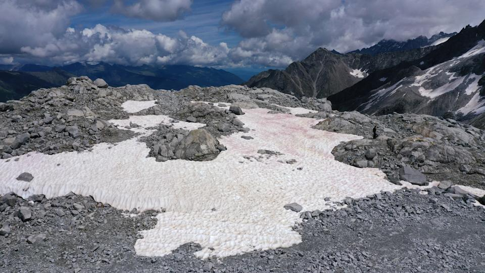 An aerial picture taken on July 3, 2020 above the Presena glacier near Pellizzano, shows pink colored snow, supposedly due to the presence of colonies of algae of the species Ancylonela nordenskioeldii from Greenland. (Photo by Miguel MEDINA / AFP) (Photo by MIGUEL MEDINA/AFP via Getty Images)