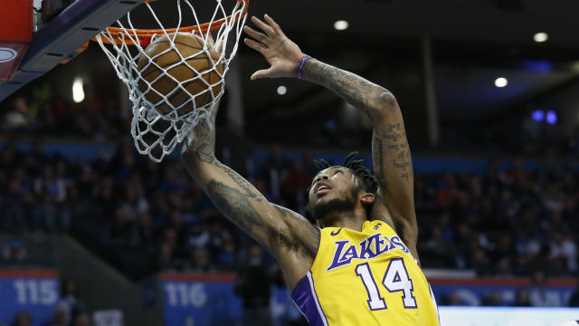 "<a class=""link rapid-noclick-resp"" href=""/nba/players/5601/"" data-ylk=""slk:Brandon Ingram"">Brandon Ingram</a> has come on over the past two months, but the Lakers sophomore will be sidelined for a bit by a left groin strain. (AP)"