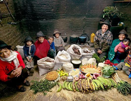 The Ayme family with a week's worth of food in Tingo, Ecuador. The family, which are potato and sheep farmers, spend $31.55 a week on groceries. They cook with a wood fire and preserve food by natural drying. Photographer Peter Menzel traveled to 24 countries, visiting thirty families from Bhutan and Bosnia to Mexico and Mongolia