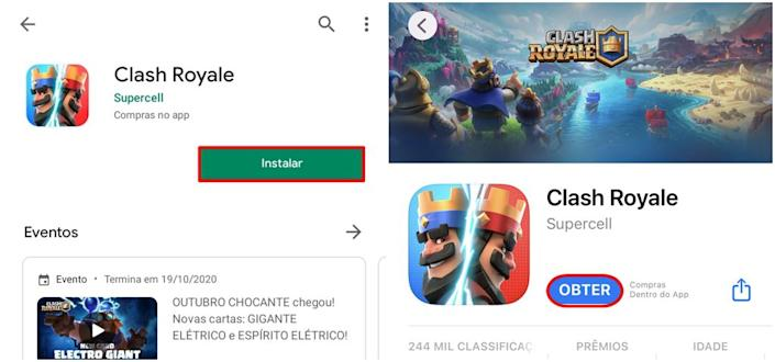Você pode encontrar o aplicativo do Clash Royale para Android e iOS - (Captura: Canaltech/Bruno Salutes)