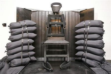 The execution chamber at the Utah State Prison is seen after Ronnie Lee Gardner was executed by a firing squad in Draper June 18, 2010. REUTERS/Trent Nelson-Salt Lake Tribune/Pool
