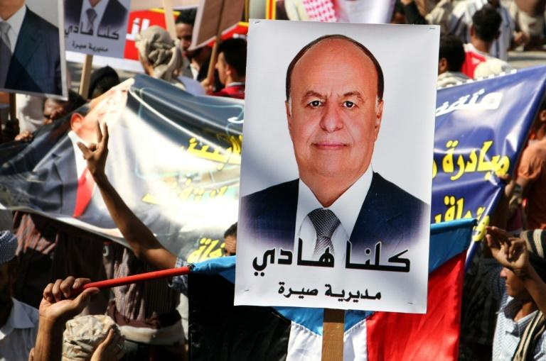 A poster bearing a portrait of Saudi-backed Yemeni President Abedrabbo Mansour Hadi at a demonstration in his support in 2016