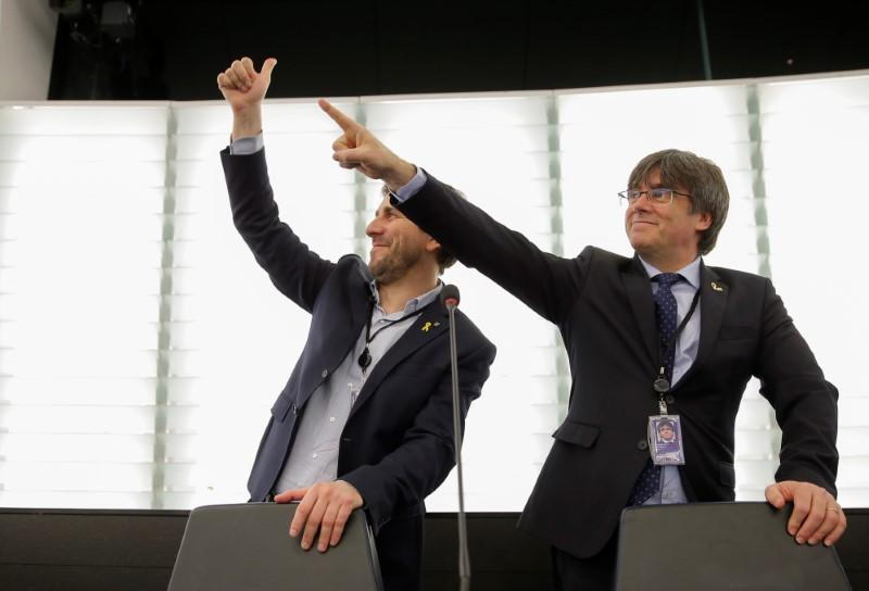 Former members of the Catalan government Puigdemont and Comin attend their first plenary session as members of the European Parliament in Strasbourg