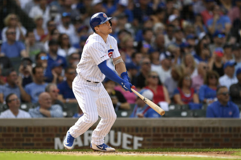 Chicago Cubs' Nico Hoerner watches his two-run home run during the first inning of a baseball game against the Pittsburgh Pirates, Friday, Sept. 13, 2019, in Chicago. (AP Photo/Paul Beaty)