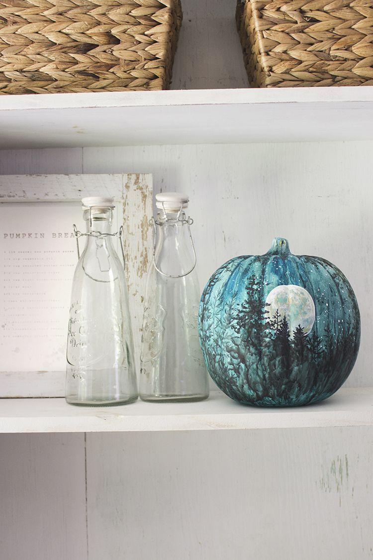 """<p>How's this for a showstopper? A watercolor painted pumpkin is a unique, stunning addition to any front porch—and it's oh-so-unexpected too.</p><p><strong>Get the tutorial at <a href=""""https://welivedhappilyeverafter.com/watercolor-night-sky-halloween-fall-pumpkin/"""" rel=""""nofollow noopener"""" target=""""_blank"""" data-ylk=""""slk:We Lived Happily Ever After"""" class=""""link rapid-noclick-resp"""">We Lived Happily Ever After</a>.</strong> </p>"""
