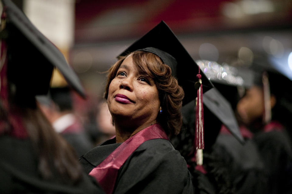 A commencement ceremony for Strayer University,  a private, for-profit educational institution.   Strayer University specializes in higher education for working adults seeking career advancement. (Photo by Brooks Kraft LLC/Corbis via Getty Images)