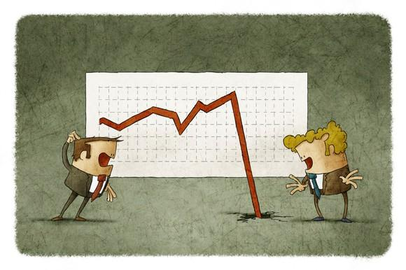 A cartoon image of two men in suits looking panicked as a stock chart falls through the floor.