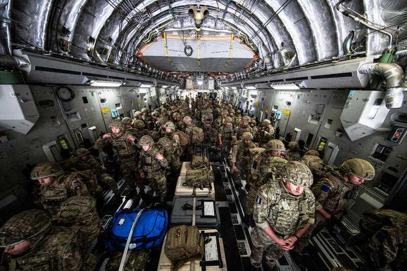 Handout photo issued by the Ministry of Defence (MoD) of 16 Air Assault Brigade arriving in Kabul as part of a 600-strong UK-force sent to assist with Operation PITTING to rescue British nationals in Afghanistan amidst the worsening security situation there.