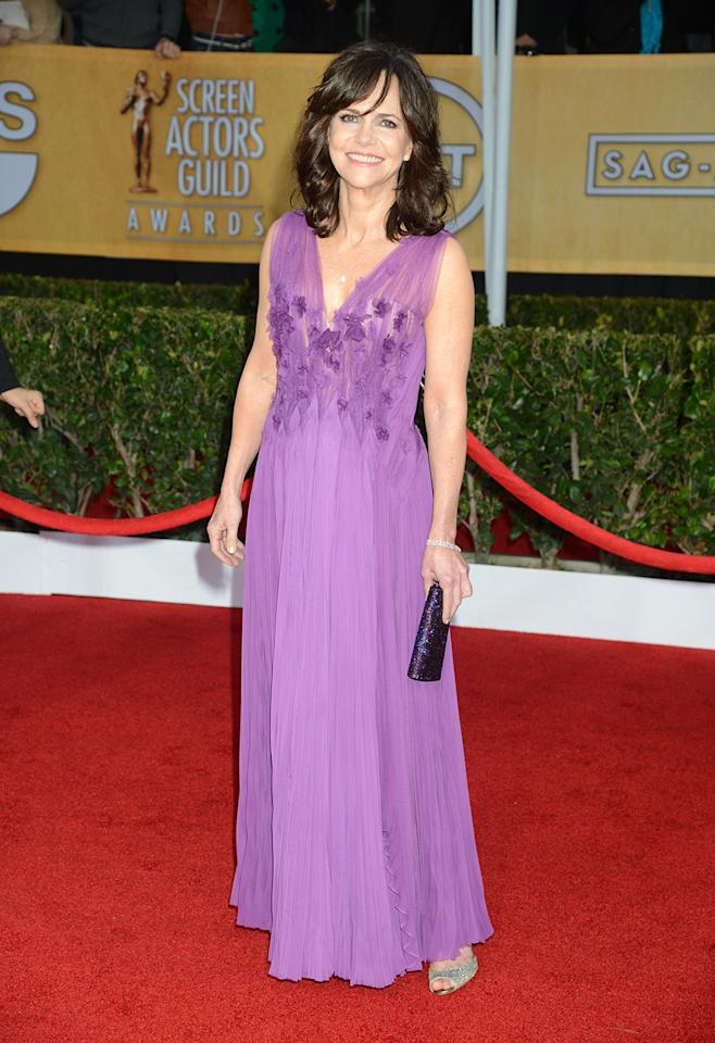 Sally Field arrives at the 19th Annual Screen Actors Guild Awards at the Shrine Auditorium in Los Angeles, CA on January 27, 2013.