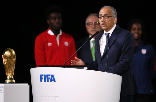 Carlos Cordeiro, the president of the United States Soccer Federation speaks at the FIFA congress on the eve of the opener of the 2018 soccer World Cup in Moscow, Russia, Wednesday, June 13, 2018. The congress in Moscow is set to choose the host or hosts for the 2026 World Cup. (AP Photo/Alexander Zemlianichenko)