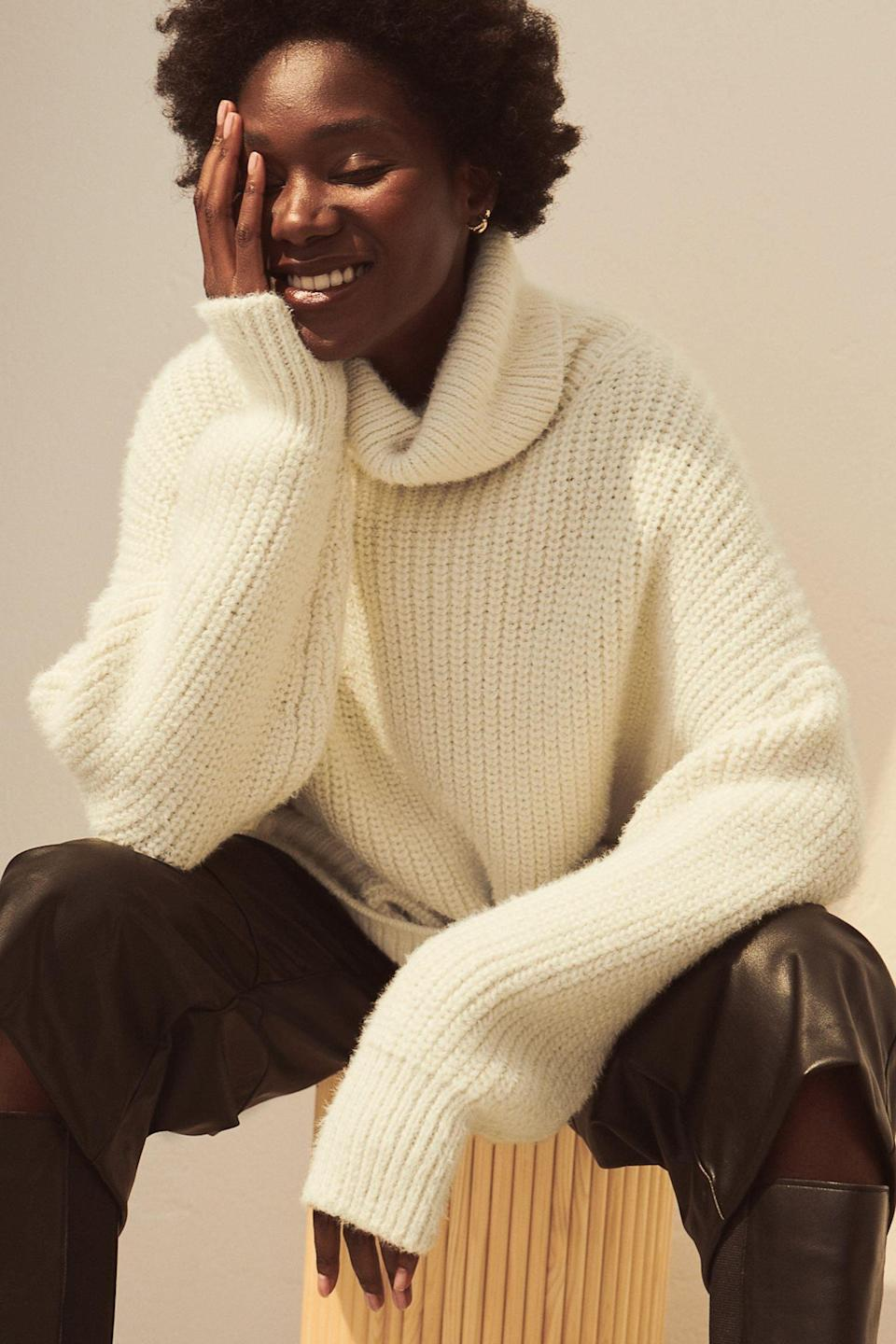 <p>This affordable <span>H&amp;M Knit Turtleneck Sweater</span> ($36, originally $40) will keep you warm the whole time you wear it.</p>
